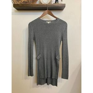 Whistles gray ribbed split tab tunic | S